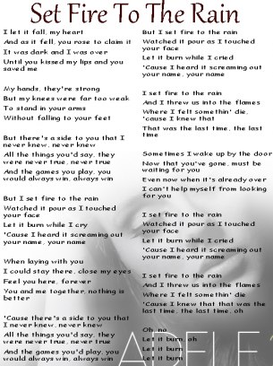 Adele Set Fire To The Rain Lyrics Sheet Great Song Lyrics Adele Songs Adele Lyrics