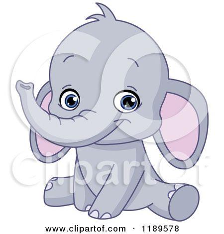 Get Sitting Cartoon Baby Elephant JPG