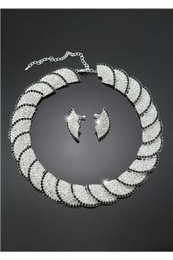 String Fan Shaped Alloy with Rhinestone Wedding Jewelry Set(Including Necklace and Earrings)