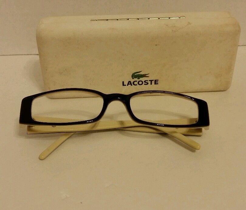 Lacoste LA 12221 BR Black Cream Acetate Full-Frame Eyeglasses 52mm ...