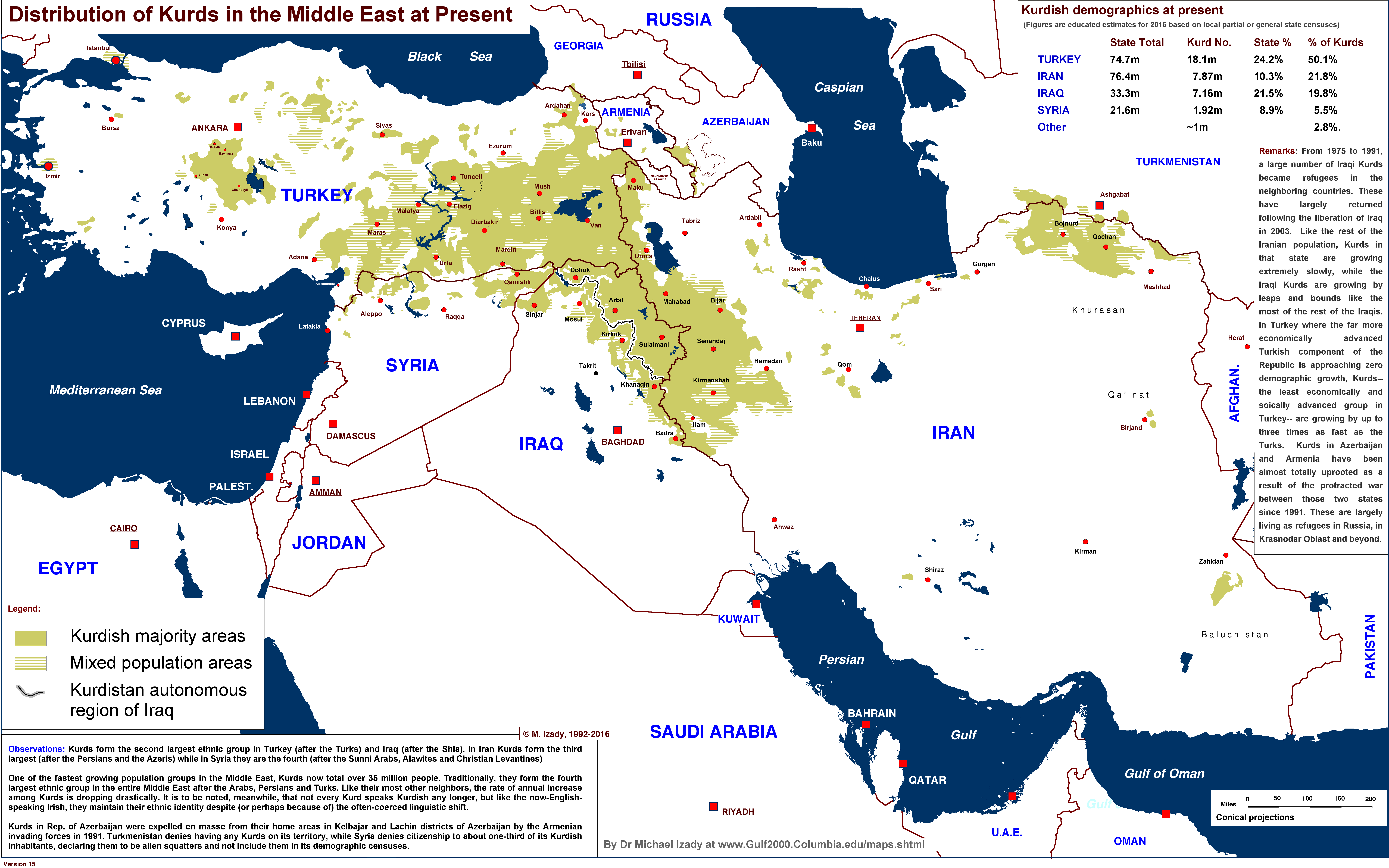 Distribution of Kurds in the Middle East by M Izady #map ... on