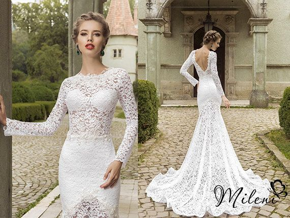 Very elegant and beautiful lace wedding dress slimming for Most beautiful long sleeve wedding dresses