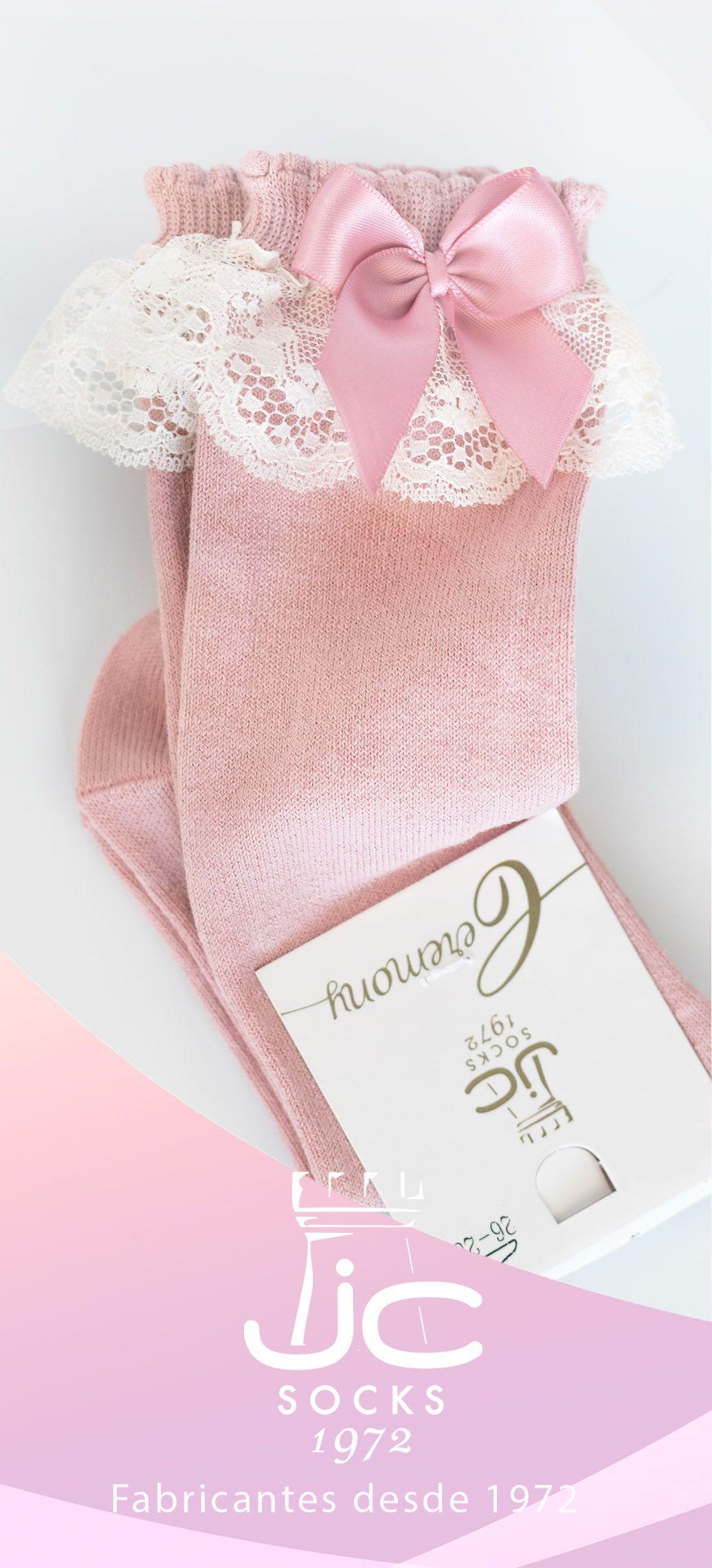 Calcetines ceremonia niña con puntilla. Calcetines Celebración JC Castellà fabricantes desde 1972