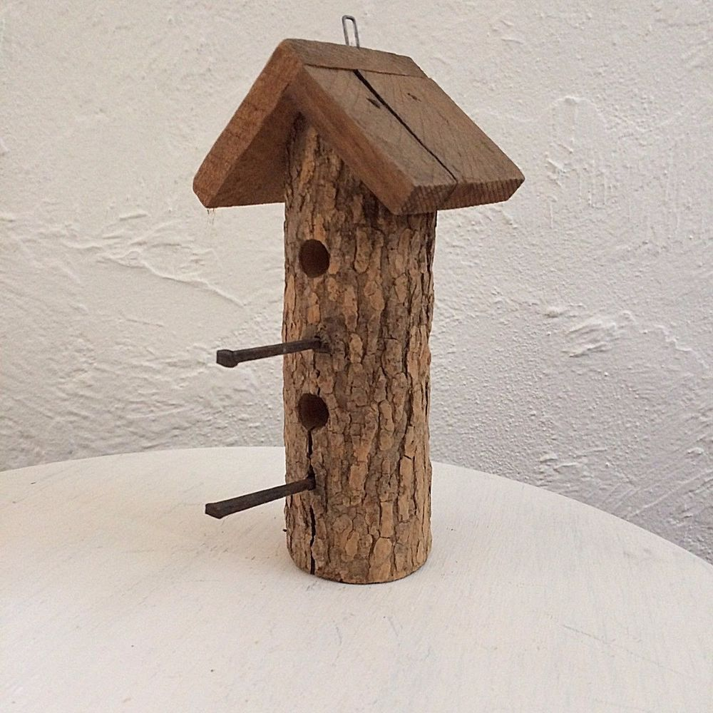 Vintage Log Birdhouse Cabin Decorative Bird House Bookshelf Front Porch Rustic