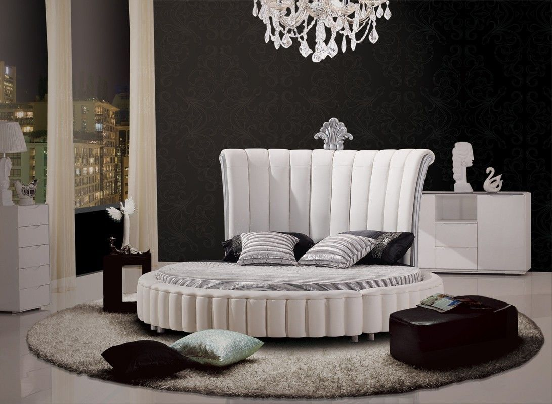 Fabulous Modern Bonded Leather Bedroom Furniture In White 1487 5 Machost Co Dining Chair Design Ideas Machostcouk