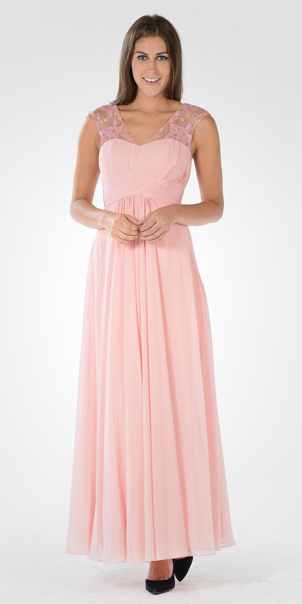 4bacb2b17760 V-Neck Embellished Pleated Bodice Empire Waist Formal Dress Long Gray