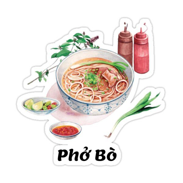 Phở Bò Vietnamese Beef Noodle Soup Sticker by Anad