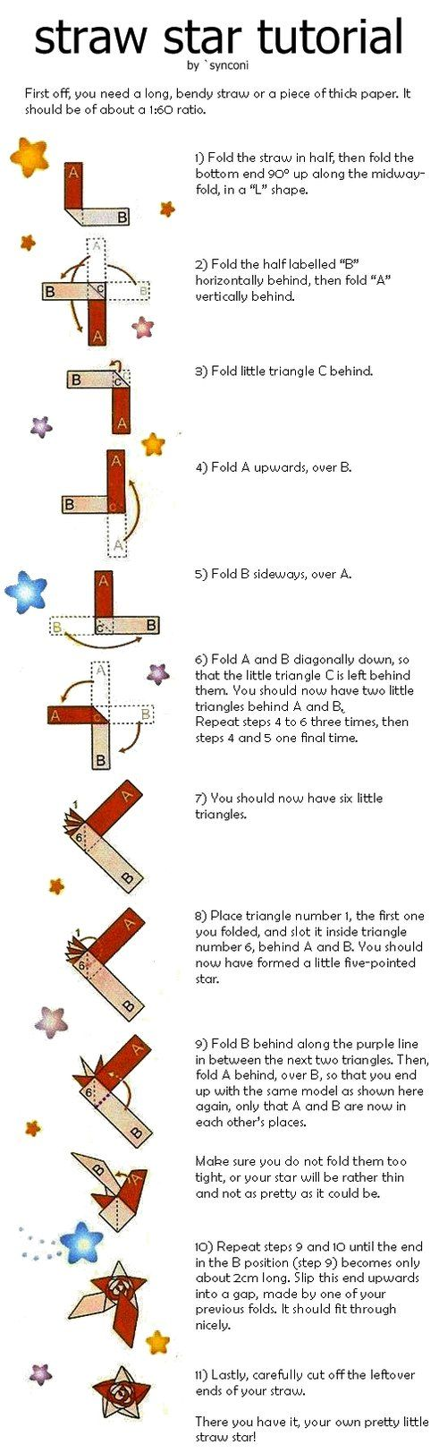Straw Star Tutorial By Synconi Origami Crafts For More Photos Diagrams And Tutorials Of His Cool War