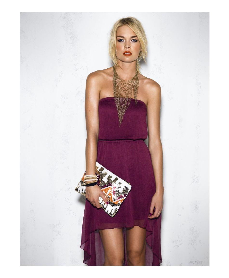 Purple high-low dress, long gold chain drape necklace ...