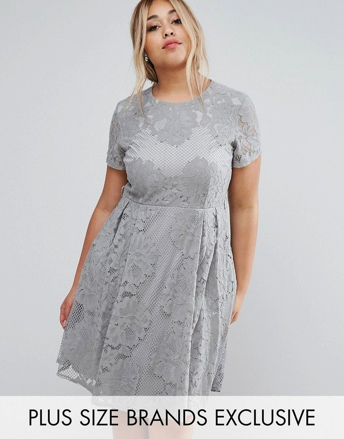 Little Mistress Plus Allover Lace Skater Dress With Cap Sleeve
