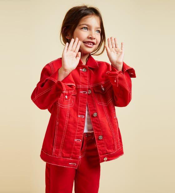 3791e3b7c Image 1 of TOPSTITCHED DENIM JACKET from Zara | Girl | Jackets ...