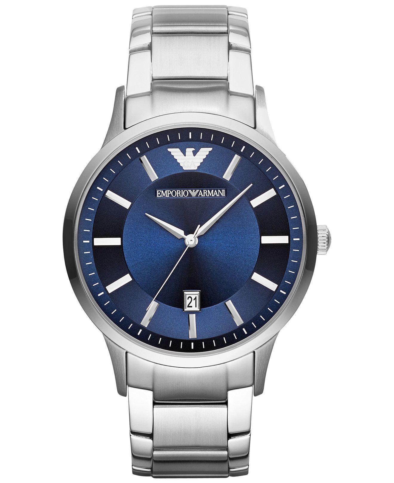 Emporio Armani Unisex Stainless Steel Bracelet Watch 43mm Ar2477  Women's  Watches  Jewelry & Watches