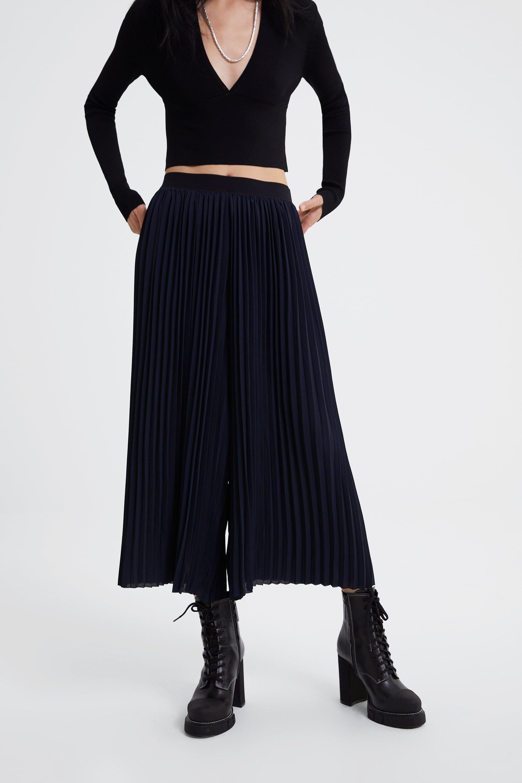 Pantalón plisado ancho | Pantalones de piernas anchas