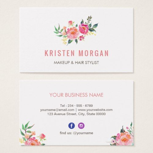 Modern Watercolor Floral Facebook Instagram Icon Business Card Zazzle Com Printing Business Cards Watercolor Business Cards Modern Business Cards