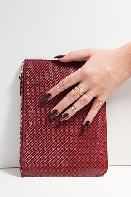 black cherry nail polish + rings