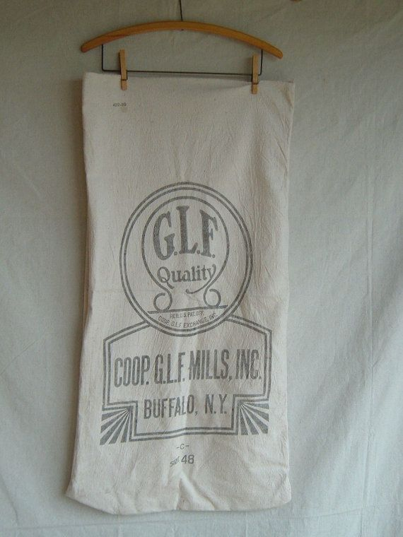 Vintage Grain Feed Sack Muslin Sack by DivaInTheDell on Etsy, $22.00