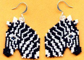 Zebra Beaded Earrings   by maddiethekat