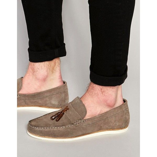 bfe88e3348f ASOS Tassel Loafers in Gray Suede With White Sole ( 31) ❤ liked on Polyvore  featuring men s fashion