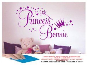 GIRLS PERSONALISED NAME WALL STICKER, GIRLS BEDROOM, GIRLS ROOM, PRINCESS  WAND, STARS