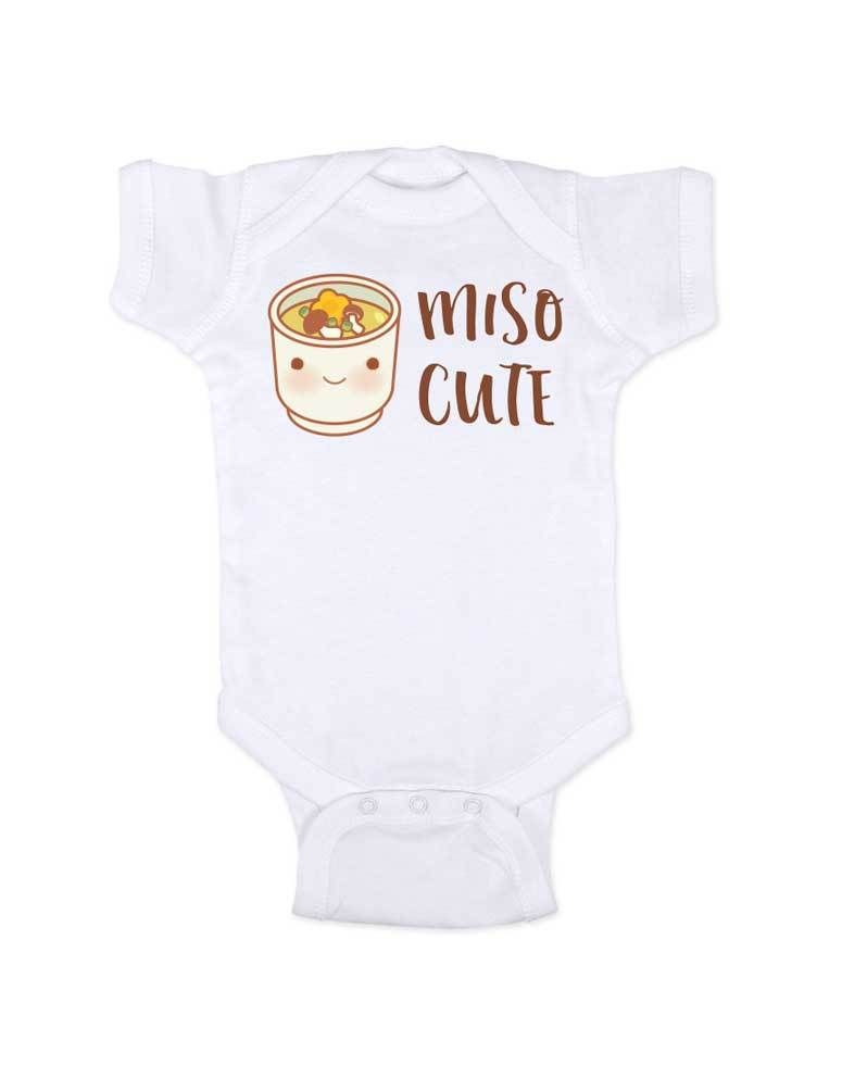 d2cf1ec04 Miso Cute funny Japanese soup food baby onesie bodysuit Infant Toddler Shirt  Hello Handmade design baby shower gift onesie