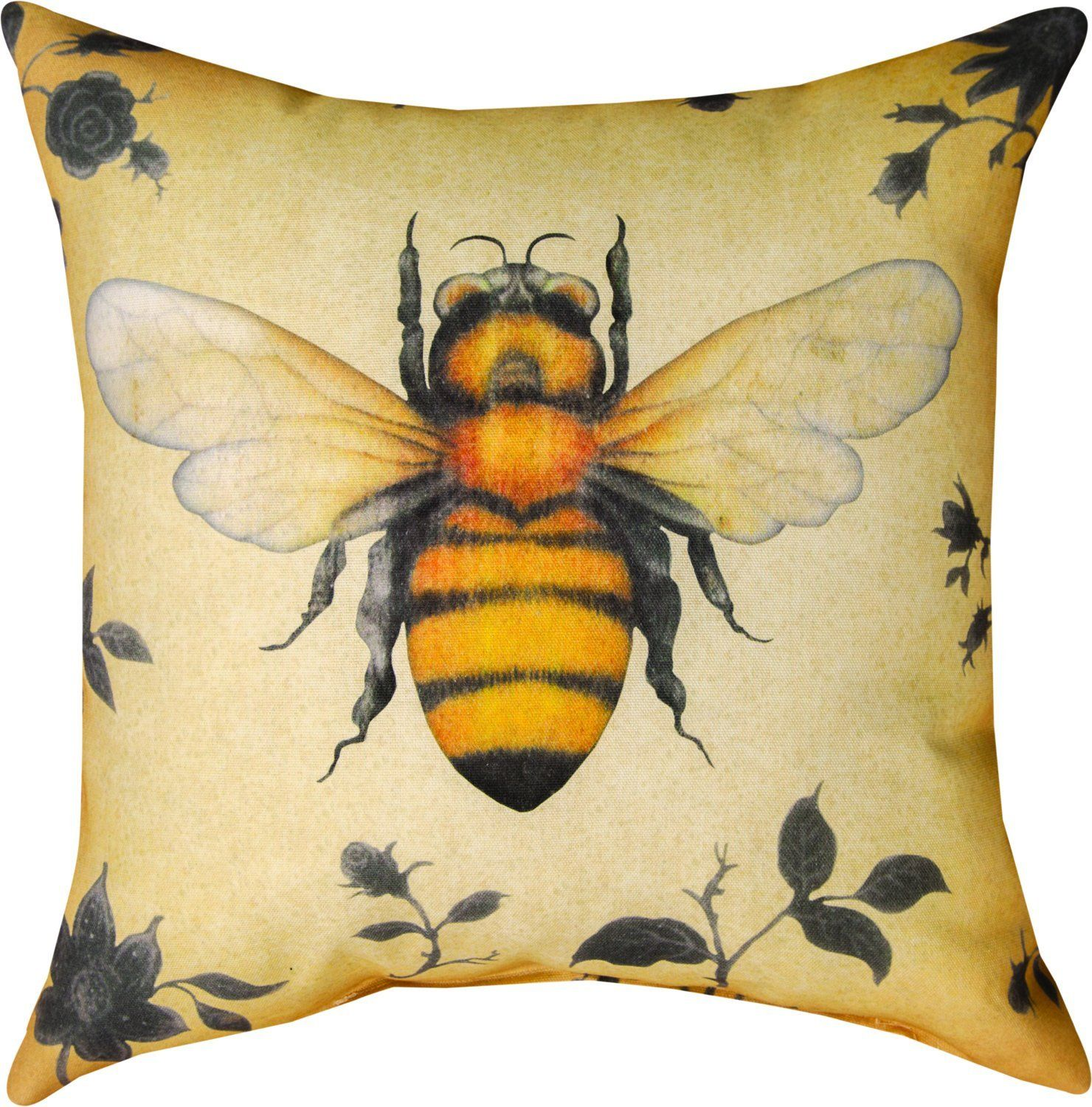 "Amazon.com - MWW Manual Indoor/Outdoor Climaweave Throw Pillow, 18"", Insects Bee -"