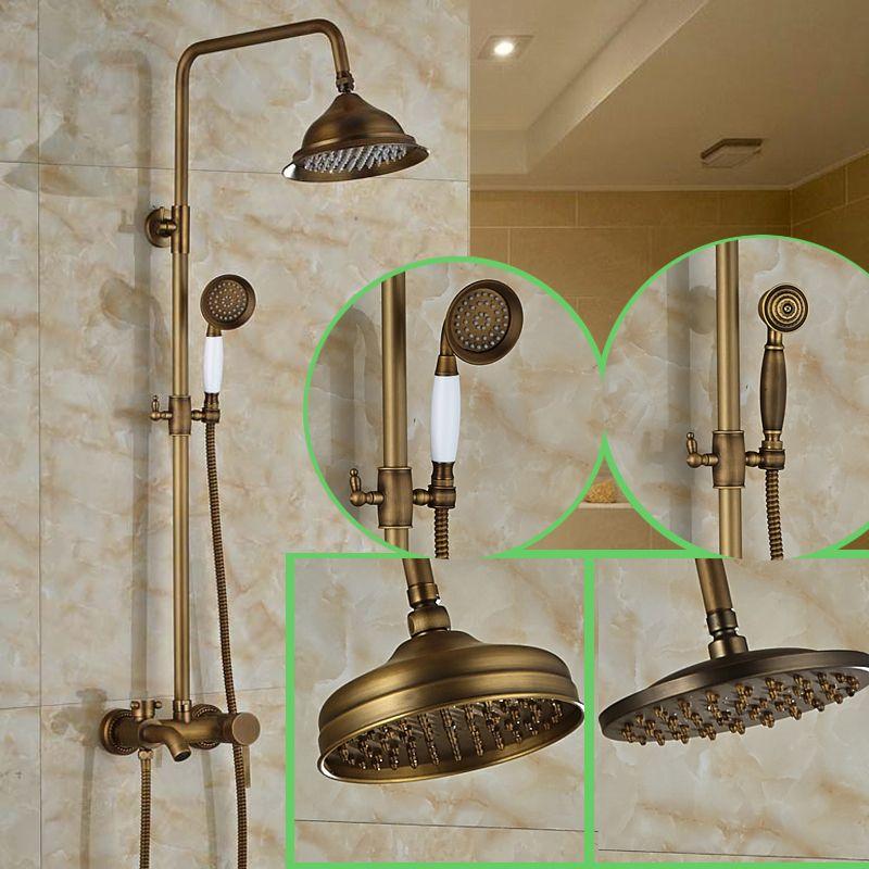 Modern 3 Function Shower Faucet Set Antique Brass 8 Inch Rain Shower ...