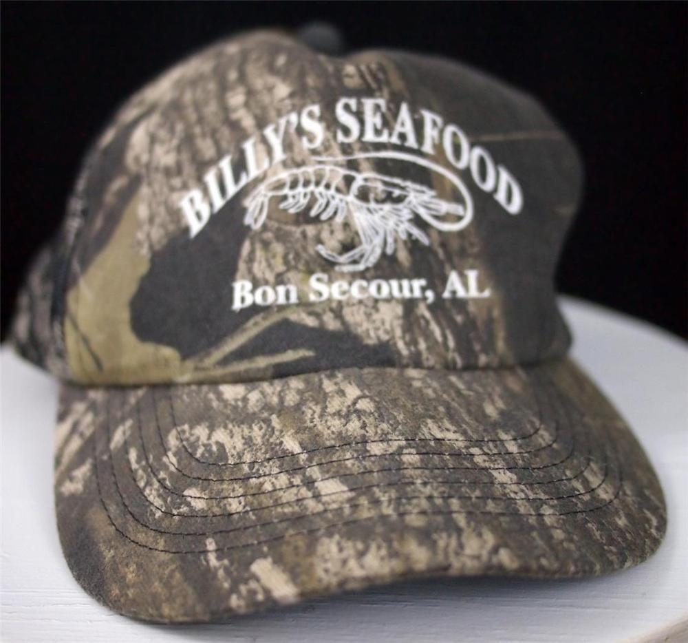 new style 94f54 8dddf ... new zealand vtg billys seafood bon secour alabama camo trucker cap hat  snapback mesh euc trucker