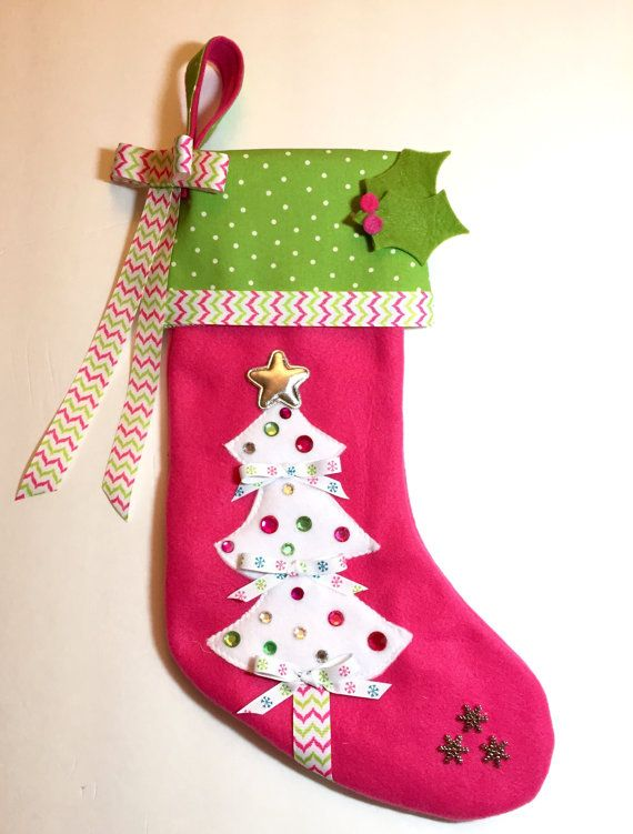 girls christmas stocking bright pink and green by matchymishka - Girls Christmas Stocking