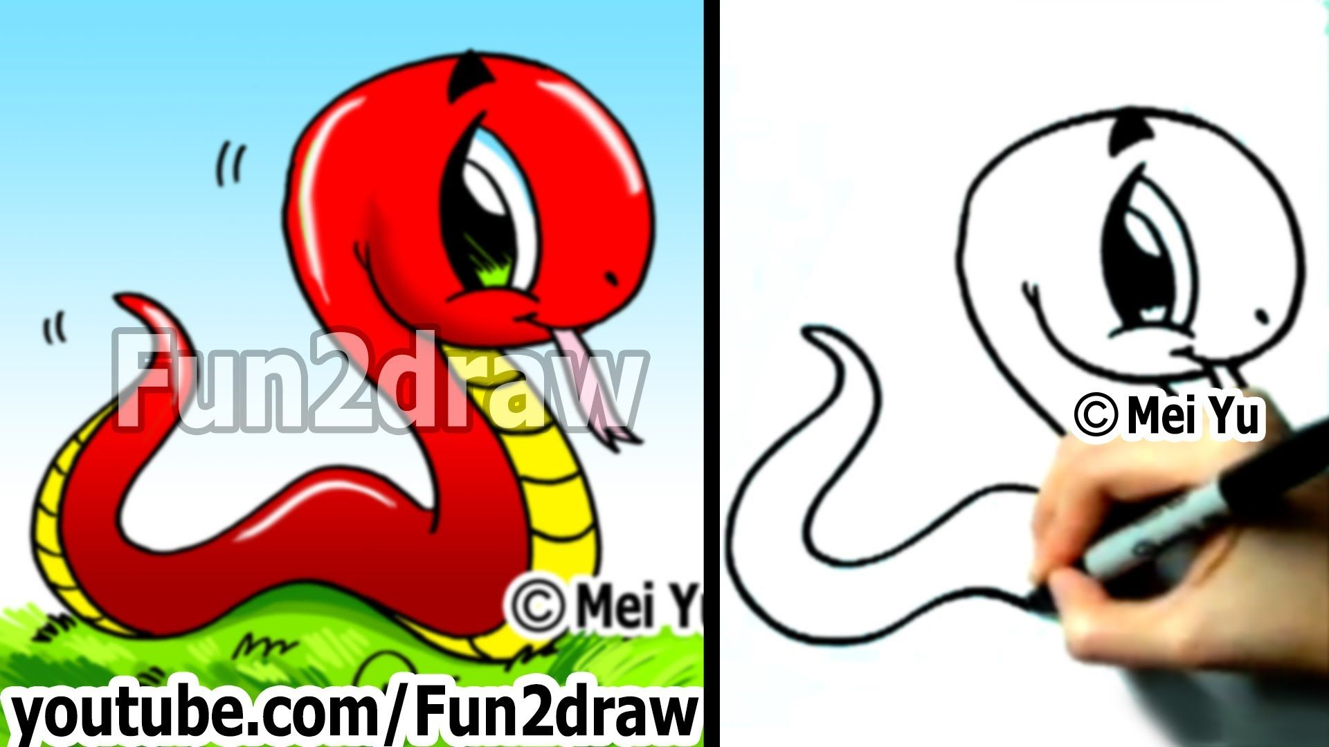 How To Draw A Snake Easy Things To Draw Cute Drawings Fun2draw Fun2draw Easy Drawings Cute Cartoon Drawings