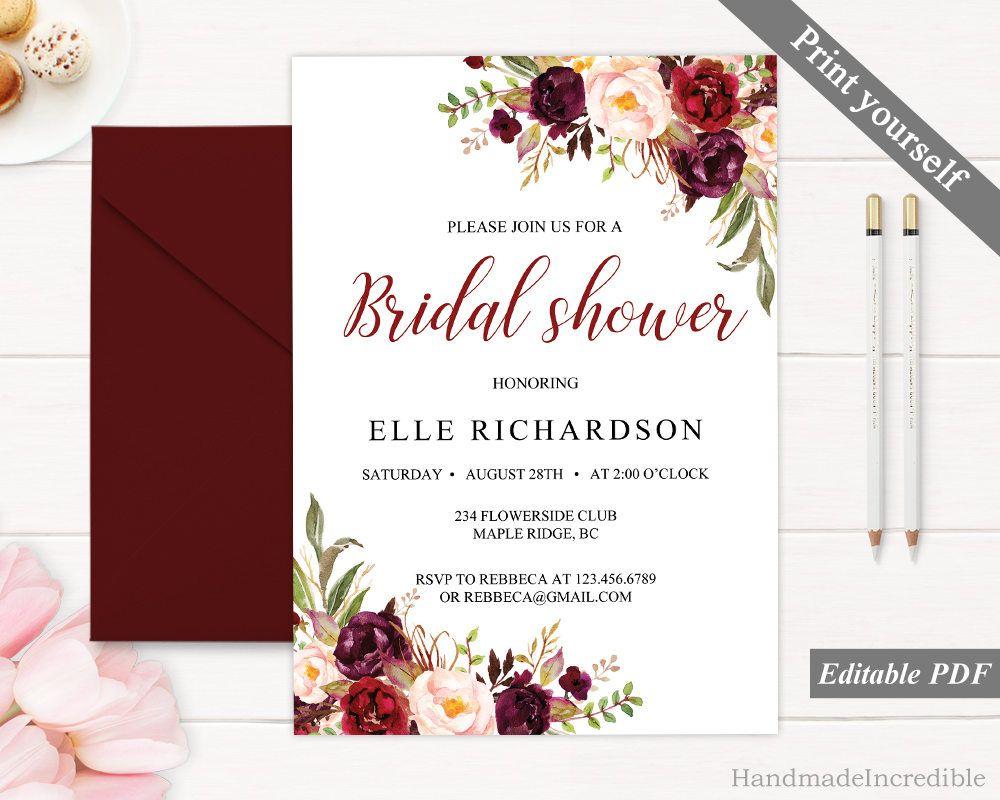 Marsala Bridal Shower Invitation Template Printable Bridal Shower ...