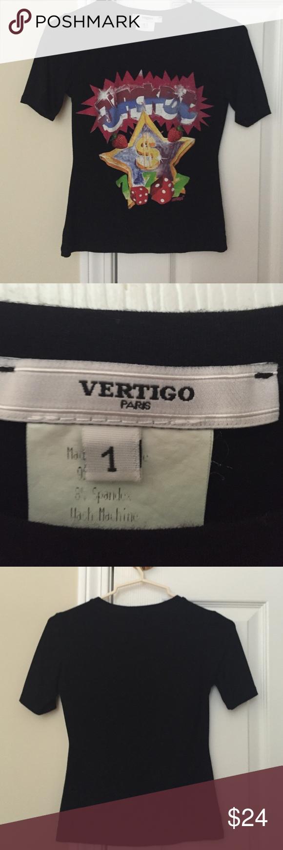 Vertigo playful jackpot t shirt. Nice quality Black vertigo Paris t shirt. Rayon and spandex Vertigo Paris Tops Tees - Short Sleeve