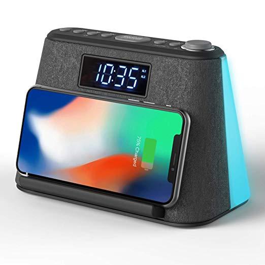 Amazon Com Alarm Clock Bedside Non Ticking Lcd Alarm Clock With Usb Charger Wireless Qi Charging Bluetooth Speaker Fm Radio Rgb M Alarm Clock Alarm Clock