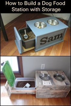 Photo of Build your dog a practical and clean dog food station with storage …
