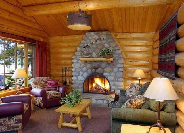 One Bedroom Log Cabin Interior