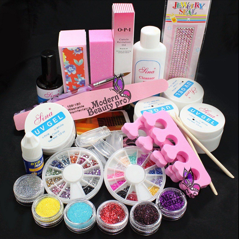 Baisidai Full Acrylic Glitter Powder Glue File French Nail Art UV ...