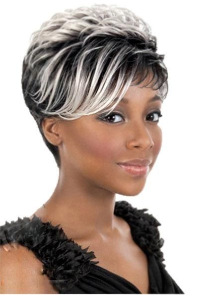 Wigs Uk Black Rooted White Highlights Short Wigs For Black Women Straight Heat Resistant Synthetic African Ameri Short Hair Styles Short Hair Wigs Hair Styles