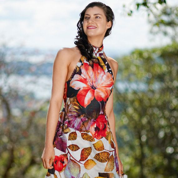 Summer Halter Dress Hibiscus Printed Cotton Summer by PenelopeRed, $190.00