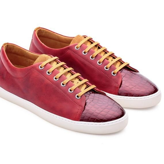 Handmade Red Leather, Suede Men's Sneakers