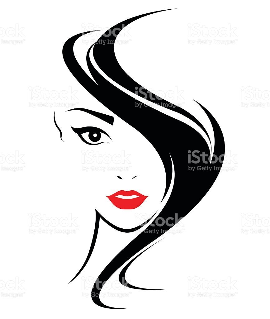 Wedding Hair Style Black Vector Art: Women-hair-style-icon-logo-women-face-on-white-background