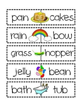 Compound Words Literacy Centres | TK | Compound words, Literacy ...