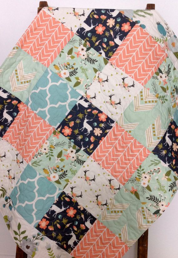 Bebe Fille Quilt Fawn Cerf Chevreuil Woodland Floral Chevron