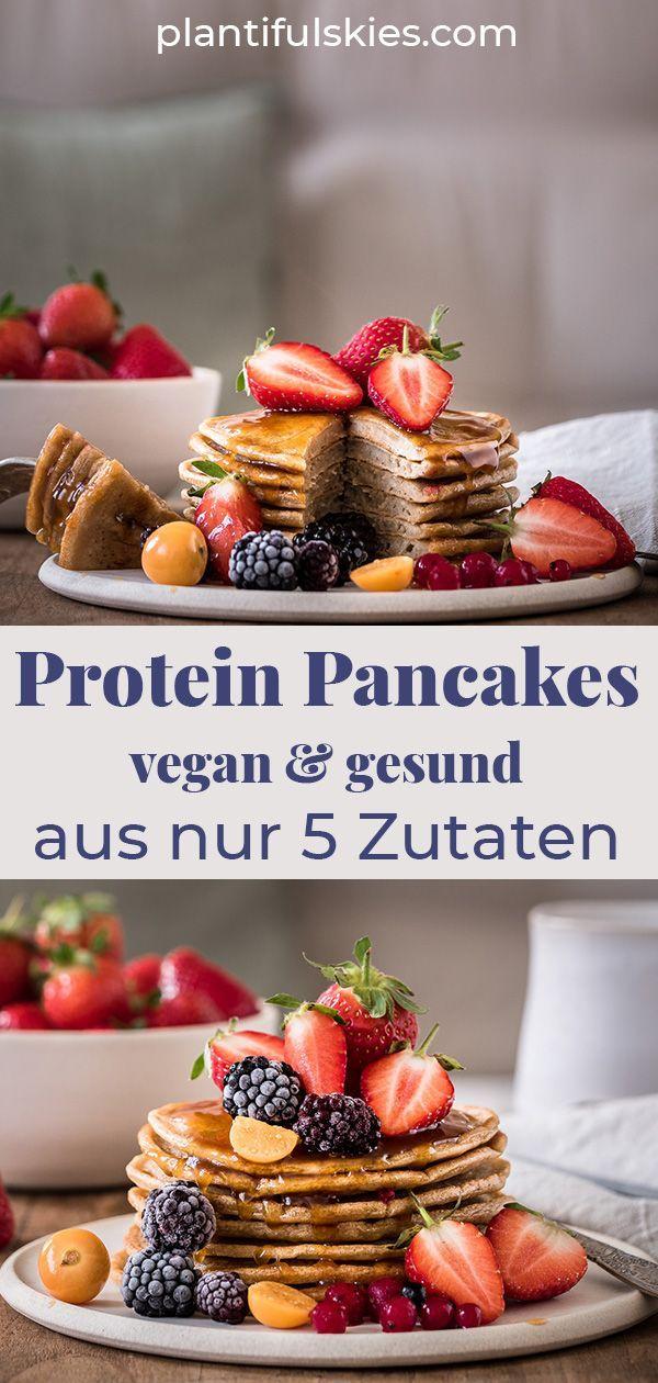 Vegane Protein Pancakes aus nur 5 Zutaten. Zuckerfrei.