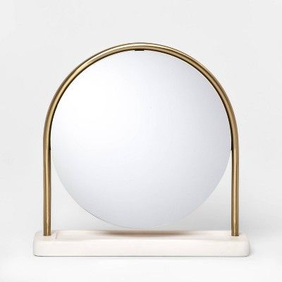 14 5 X 4 Metal Vanity Mirror With Marble Base Gold White