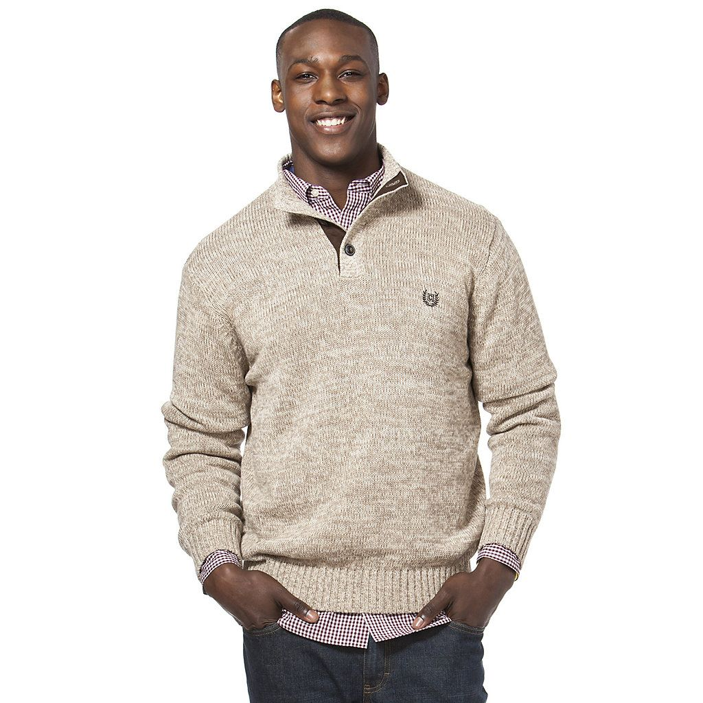 Chaps Mens Big and Tall Classic Fit Twist Button Mock Sweater