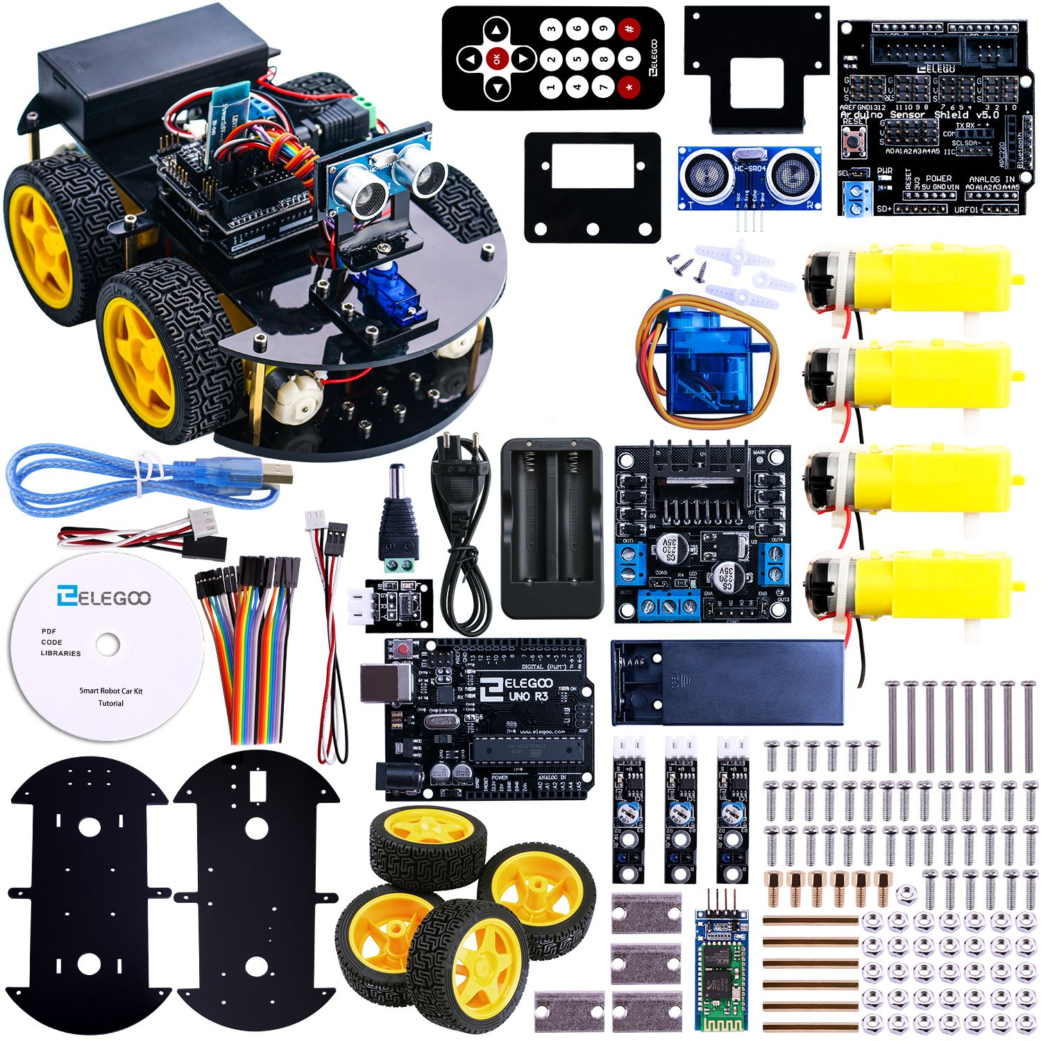 Multi-function Smart Car Kit Bluetooth Chassis Suit Tracking Compatible Uno R3 Diy Rc Electronic Toy Robot With 1602 Active Components