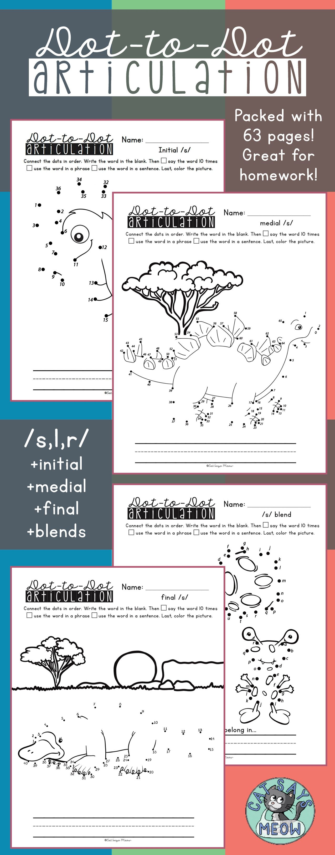 Articulation Homework Dot To Dot Worksheets For S L R