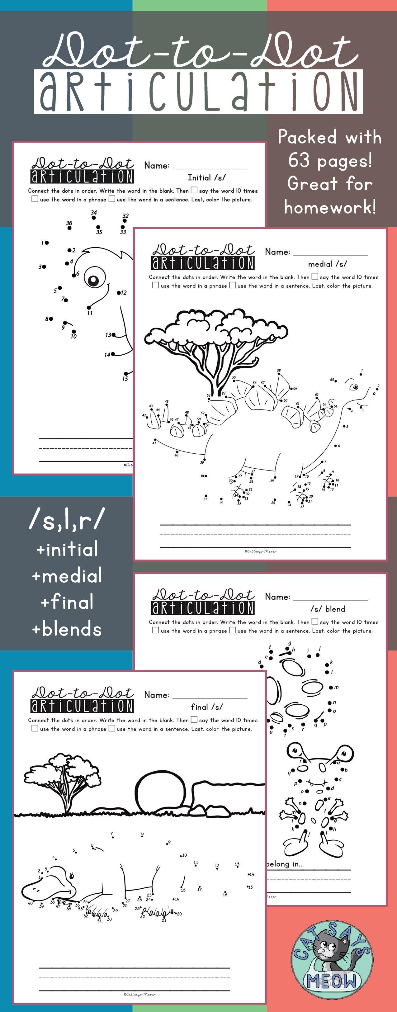 Articulation Homework Dot To Dot Worksheets For S L R Blends No Prep