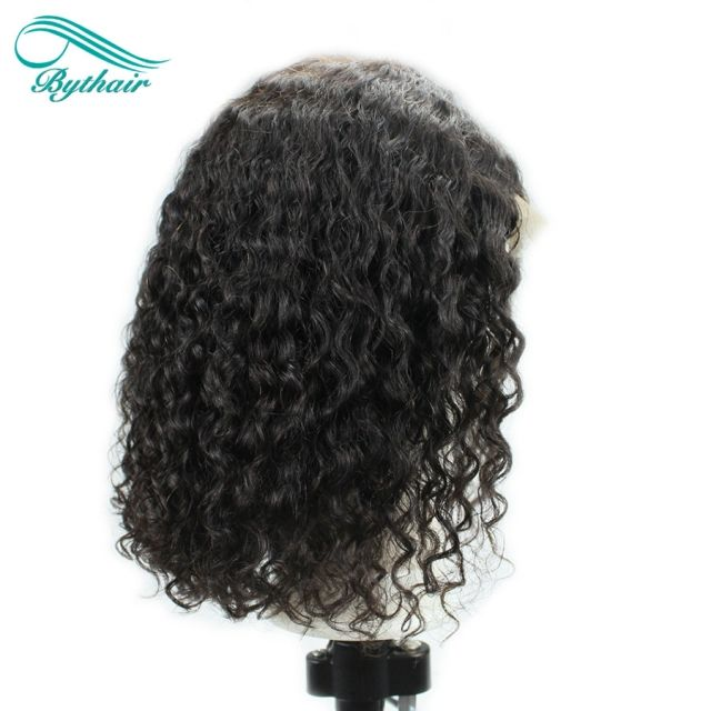 Bythairshop Short Curly Lace Front Human Hair Wig Full Lace Wig Pre Plucked Hairline Deep Curly Brazilian Virgin Hair Bleached Knots With Baby Hair #lacewigs