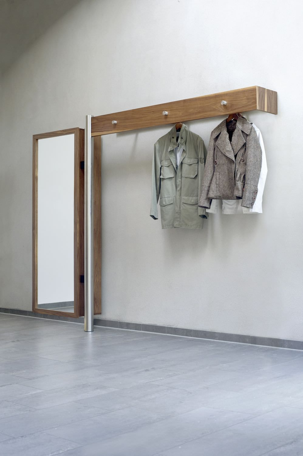 Flurmöbel Porta Wall Mounted Coat Rack Contemporary In Wood Stainless Steel