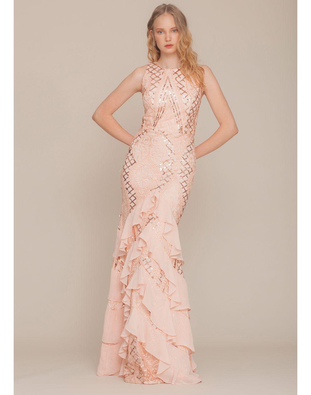 fabcf731ca Vestido de fiesta con corte sirena con falda de volantes y color rosa palo  de Zibi